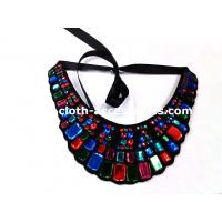 Quality Rectangle And Round Beaded Neck Trim Felt Fabric For Navy Blue Shift Dress wholesale