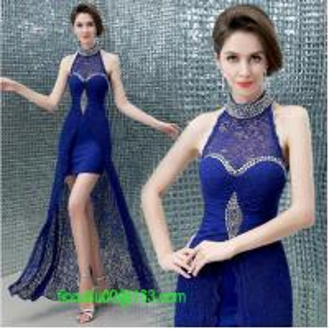 Quality Sexy crystal halter lace long evening dress 2014 sapphire slim women formal dresses vestidos de fiesta wholesale