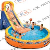 Cheap Durable Inflatable Swimming Pools Digital Print With Water Slide For Kids Of