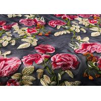 Quality Colorful Embroidered Lace Fabrics , Multi Color Floral Blossom Lace Mesh Fabrics wholesale