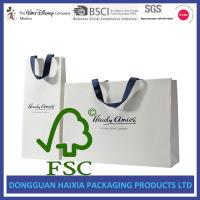 Quality Ribbon Handle Kraft Paper Gift Bags OEM Logo Printed White Gift Carrier wholesale