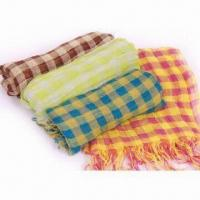 China 100% Viscose Scarves with Checked Design, Measures 60 x 190 + 10 x 2cm on sale