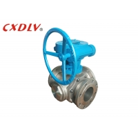 China Worm Gear Three Way Stainless Steel Flanged Ball Valve on sale