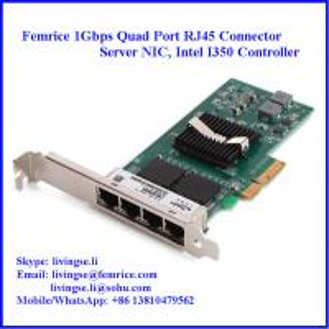 Quality 10/100/1000Mbps 4 Ports RJ-45 Connector Gigabit Ethernet Server Adapter, Copper Adapter wholesale