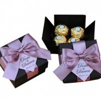China Customized Printing Luxury White Party  Candy Bar  Box Weeding  Door Gift Chocolate  Box With Ribbon on sale