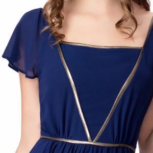 Cheap Elegant Chiffon U Neck Womens Summer Maxi Dresses Royal Blue Flare Sleeves Big Sweep for sale
