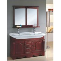 Quality Red wood color Ceramic bathroom vanity traditional style 135 X 48 X 85 / cm wholesale