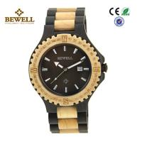 Quality Round Face Custom Men Wooden Watches , Black Sandalwood Maple Wooden Style Watches wholesale