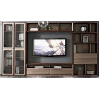 Cheap 2017 New Walnut Wood Furniture Design Living room Combined TV Wall Units by Tall Cabinets and Floor stand & Hang Racks for sale