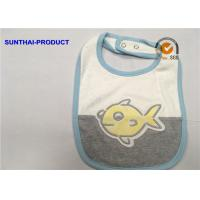 Quality Contrast Color Binding Applique Baby Bibs , Bubble Screen Print Baby Feeding Bibs wholesale