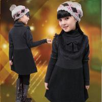 Quality Uneven Grey Turtleneck Little Girls Winter Dresses With Bow 5 Year Old Girl Clothes wholesale