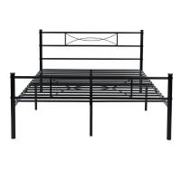China Black Wrought Iron Bed , Wrought Iron Platform Bed For  Hotel Family on sale