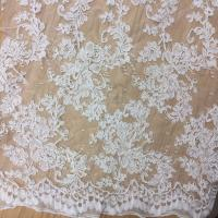 Quality 2017 hot sale Bridal Wedding Dress Fabric  Mesh Based Embroiery Lace Fabric in Ivory Color wholesale