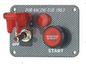 Quality Carbon Fiber Racing Ignition Switch Panel , Red Illuminated Engine Start Button wholesale