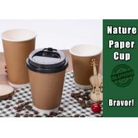 Quality Brown Double Walled Disposable Coffee Cups , Comfortable 16 Oz Kraft Coffee Cups wholesale