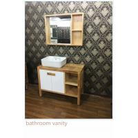 Quality 100cm Natural Wood Square Sinks Bathroom Vanities , Small Bathroom Vanity With Sink wholesale