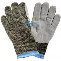 Quality 10 Guage Kevlar Camouflage Knitted Shell With Cow Split Leather Sewed Anti Cut Work Gloves wholesale