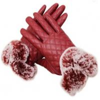 China Fur Cuff Leather Fashion Gloves Customized PU Touch Screen Plain Style on sale