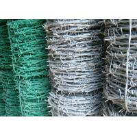 Quality BWG 8 - 20 Green Barbed Wire , Hot Dipped Galvanized Airport Security Fence wholesale