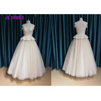 Quality Champange Off The Shoulder Princess Wedding Dress With Tulle Sweep Train Zipper wholesale