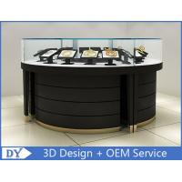 Quality Curve Wood Black Lighted Jewelry Display Case / Jewellery Display Cabinets wholesale