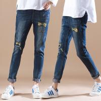 Quality Summer Womens Printed Denim Jeans Full Elastic Waist Cute Embroidered Pattern wholesale