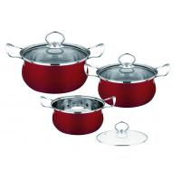 Quality Red Kitchen Pots And Pans Set Easy Cleaning , Durable Stainless Steel Cookware Sets wholesale