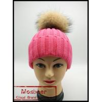 Buy cheap 2015 new designed women raccoon fur ball twist wool hat ladies fashion winter from wholesalers
