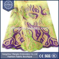 Quality Embroidered on net african lace fabrics 2015 french lace fabric yellow with sequins wholesale