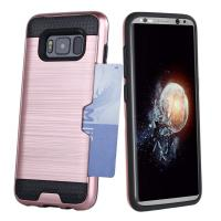 Quality Dual Layer PC / TPU Bumper Credit Card Holder Protective Case For Samsung Galaxy S8 wholesale