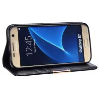 Genuine Leather Phone Case Magnet Included Black For Samsung Galaxy S7