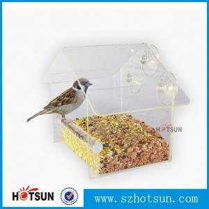 Quality Wholesale 2016 Custom Hanging Bird Water Feeder,Grateful Gnome Window Brid Feeder,Acrylic Clear wholesale