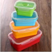 Quality Set of 4 Collapsible Silicone Food Storage Container FDA silicone lunch box for kids wholesale