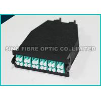 Quality Low Loss Fiber Optic Cassette 24 F Shuttered LC to MTP 50 μm Aqua Adapter wholesale