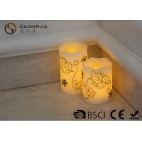Quality Luxury Carved Craft real Wax led Candles with flower pattern , painting candle wholesale