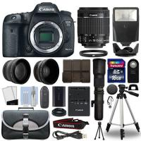 Quality Canon 7D Mark II DSLR Camera+ 4 Lens 18-55mm IS STM + 500mm + 16GB Telephoto Kit wholesale