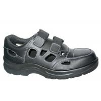 China Hollow Design Black Leather Non Slip Shoes , Velcro Breathable Steel Toe Work Shoes on sale