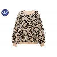 Quality Leopard Jacquard Womens Knit Pullover Sweater Thick Chunky Jumper Drop Shouder wholesale