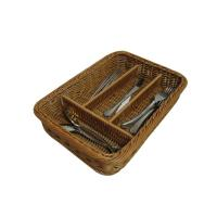 Quality Pretty Washable Four - Dividers Basket , Rattan Flatware Caddy wholesale