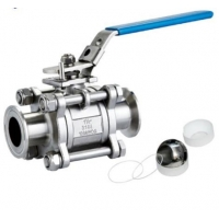 China DN10~DN100 1 1/4in Stainless Steel Sanitary Valves Three Piece Ball Valve on sale