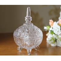 Quality Three Feet Glass Candy Jar Stock With Lid For House Decoration Line Shape wholesale