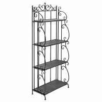 Quality Folding Black Metal Display Shelf / 4 Tier Storage Organizer Solid Structure wholesale