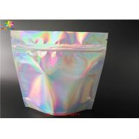 China Stand Up Laser Cosmetic Packaging Bag Hologram Laminated Materials With Zipper on sale