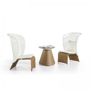 Quality Height 70cm Width 60cm Wicker Rattan Side Table , Rattan Patio Coffee Table Luxury wholesale
