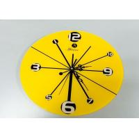 Quality Dinning Room Yellow Reverse Wall Clock Decorative Home Design , Carved wholesale