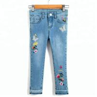 Quality Long Kids Denim Clothes Baby Girl Denim Pants With Flower Embroidered Decor wholesale