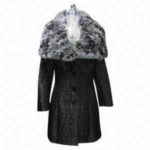 China Women's winter jacket, knitted Rex rabbit fur trims on sale