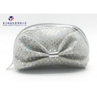 China Silver Sequins On Bag Big Bowknot On Front Side Fabric Makeup Bag 20.5X7.5X17.5cm on sale