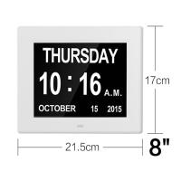 China 8 Inch Video Brochure Card LED Digital Desk Electronic Perpetual Calendar Alarm Day Clock White Color/UL Adapter/Extra l on sale