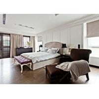 China New Luxury Hotel Contemporary Platform Bed , Grey Bedroom Furniture Set Solid Wood on sale